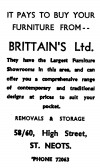 Advert for Brittain's Ltd in St Neots High Street, 'News of the Churches' magazine Dec 1972