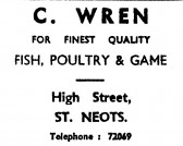 Advert for C. Wrens's shop in the High Street, St Neots, - in the 'News of the Churches' magazine Dec 1972