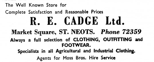 Advert for R.E. Cadge Ltd clothing shop in St Neots Market Square - in the 'News of the Churches' magazine Dec 1972 & Feb 1975