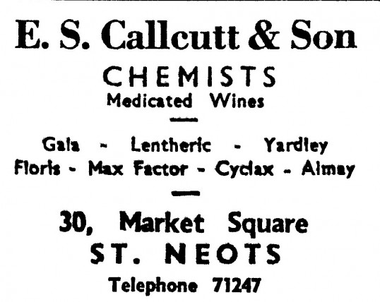 Advert for 'E. S. Callcutt & Son' Chemists in St Neots Market Square - in the 'News of the Churches' magazine Dec 1972 & Feb 1975
