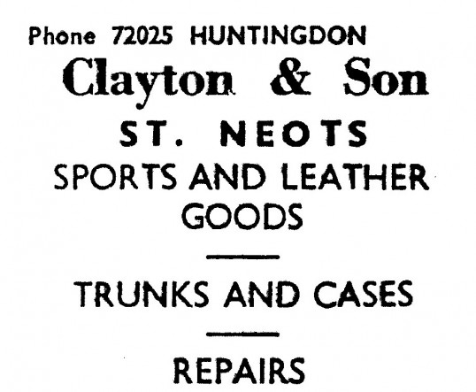 Advert for Clayton & Son sports and leather shop in St Neots - in the 'News of the Churches' magazine Dec 1972