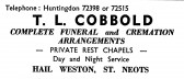 Advert for T.L. Cobbold, Funeral Directors in St Neots - in the 'News of the Churches' magazine Dec 1972