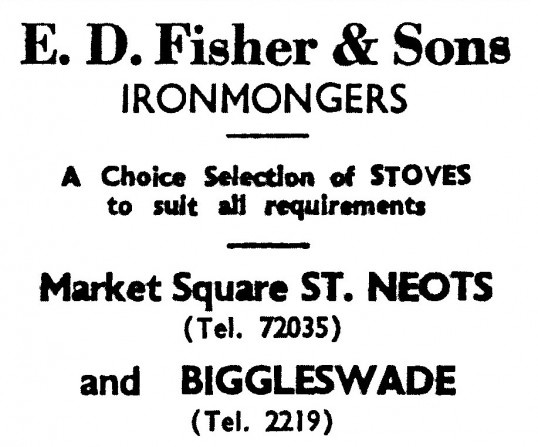 Advert for E.D. Fisher & Sons Ironmongers in St Neots Market Square - in the 'News of the Churches' magazine Dec 1972 & Feb 1975