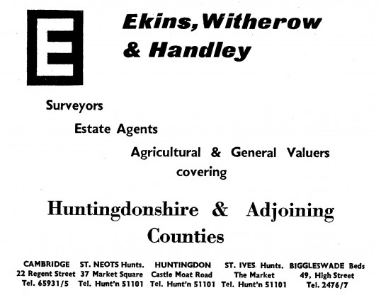 Advert for Ekins, Witherow & Handley Estate Agents in St Neots Market Square - in the 'News of the Churches' magazine Dec 1972