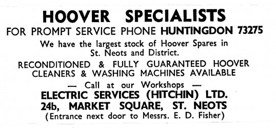 Advert for Electric Services Ltd, Market Square, St Neots - in the 'News of the Churches' magazine Dec 1972