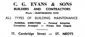 Advert for C.G. Evans & Sons Builders at Cambridge Street, St Neots - in the 'News of the Churches' magazine Dec 1972