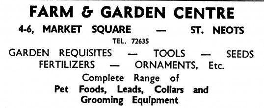 Advert for Farm & Garden Centre, St Neots Market Square - in the 'News of the Churches' magazine Dec 1972