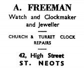Advert for A. Freeman, Jeweller at 42 High Street in St Neots - in the 'News of the Churches' magazine Dec 1972
