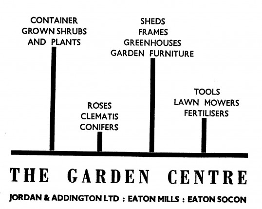 Advert for The Garden Centre, Eaton Mills, Eaton Socon - in the 'News of the Churches' magazine Dec 1972
