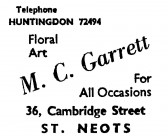 Advert for M.C. Garrett, florists at 36 Cambridge Street, St Neots - in the 'News of the Churches' magazine Dec 1972 and Feb 1975