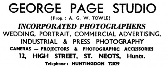 Advert for George Page Studio, Photographers, at 12 High Street, St Neots - in the 'News of the Churches' magazine Dec 1972