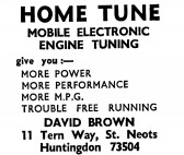 Advert for Home Tune, engine tuning at Tern Way, St Neots - in the 'News of the Churches' magazine Dec 1972 and Feb 1975