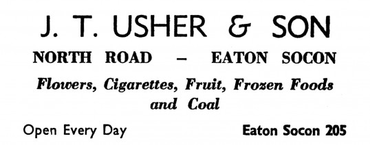 Advert for J T Usher & Son shop in Eaton Socon- in the 'News of the Churches' magazine Dec 1972