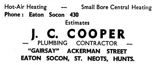 Advert for J. C. Cooper, plumber in Eaton Socon - in the 'News of the Churches' magazine Dec 1972 and Feb 1975