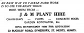 Advert for J & M Plant Hire (tool hire) in Eynesbury - in the 'News of the Churches' magazine Dec 1972