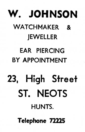 Advert for W. Johnson Jeweller in St Neots High Street - in the 'News of the Churches' magazine Dec 1972 and Feb 1975