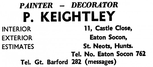 Advert for P. Keightley, painter and decorator in Eaton Socon - in the 'News of the Churches' magazine Dec 1972