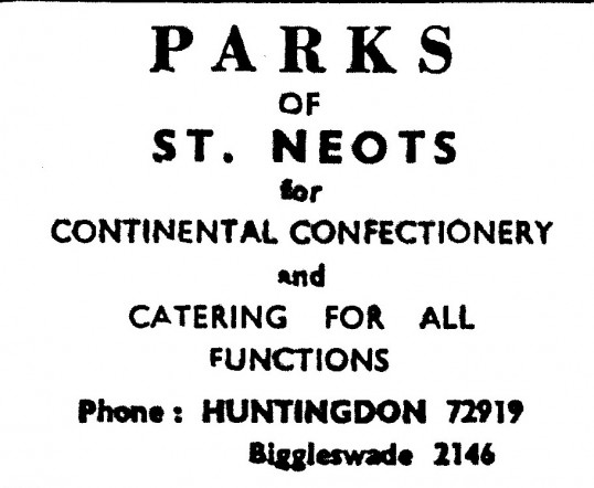 Advert for Parks of St Neots, confectioner - in the 'News of the Churches' magazine Dec 1972