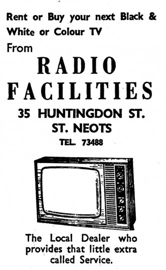 Advert for Radio facilities in Huntingdon Street, St Neots - in the 'News of the Churches' magazine Dec 1972