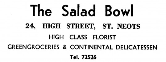 Advert for The Salad Bowl shop in St Neots High Street - in the 'News of the Churches' magazine Dec 1972 & Feb 1975