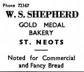Advert for W.S. Shepherd, bakers of St Neots - in the 'News of the Churches' magazine Dec 1972