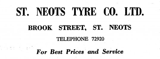 Advert for St Neots Tyre Co. Ltd in Brook Street, St Neots - in the 'News of the Churches' magazine Dec 1972 and Feb 1975