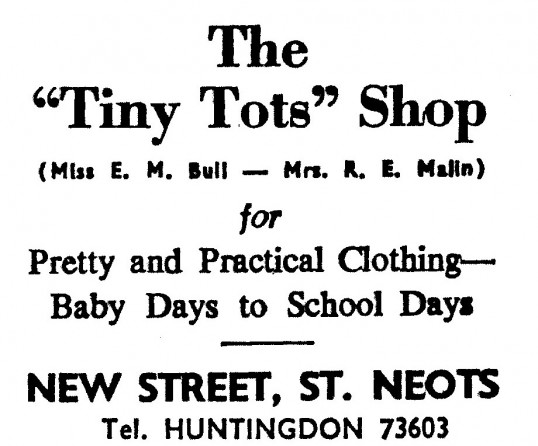 Advert for The 'Tiny Tots' Shop in St Neots High Street - in the 'News of the Churches' magazine Dec 1972 and Feb 1975