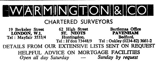Advert for Warmington & Co Chartered Surveyors in St Neots High Street - in the 'News of the Churches' magazine Dec 1972