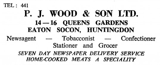 Advert for P.J. Wood & Son Ltd, shop in Queens Gardens, Eaton Socon -- in the 'News of the Churches' magazine Dec 1972