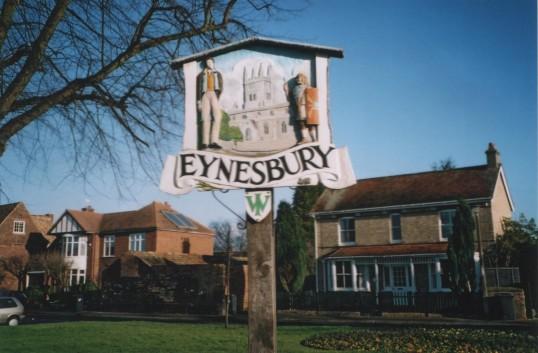 Eynesbury Village Sign on Eynesbury Village Green, in 2006