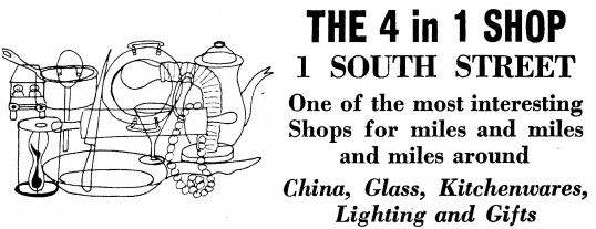 Advert for The 4 in 1 shop in South Street, St Neots- in 'News of the Churches' magazine Feb 1975