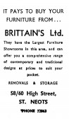 Advert for Brittains Furniture shop in St Neots High Street - in 'News of the Churches' magazine Feb 1975