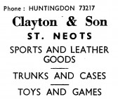 Advert for 'Clayton & Son' sports and leather goods shop - in 'News of the Churches' magazine Feb 1975