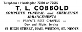 Advert for T.L. Cobbold, funeral directors at Hail Weston - in 'News of the Churches' magazine Feb 1975