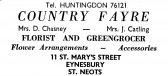 Advert for Country Fayre, florist in St Mary's Street, Eynesbury - in 'News of the Churches' magazine Feb 1975