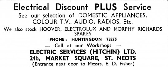 Advert for Electric Services in St Neots Market Square, - in 'News of the Churches' magazine Feb 1975