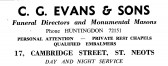 Advert for C.G. Evans & Sons, funeral directors in Cambridge Street, St Neots - in 'News of the Churches' magazine Feb 1975