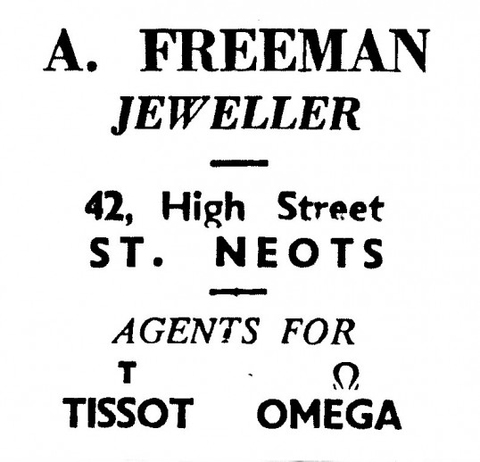 Advert for A. Freeman, jewellers shop in St Neots High Street - in 'News of the Churches' magazine Feb 1975