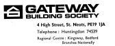 Advert for Gateway Building Society in St Neots High Street (later becoming Woolwich) - in 'News of the Churches' magazine Feb 1975