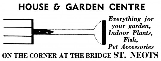 Advert for House & Garden Centre, Market Square in St Neots, - in 'News of the Churches' magazine Feb 1975