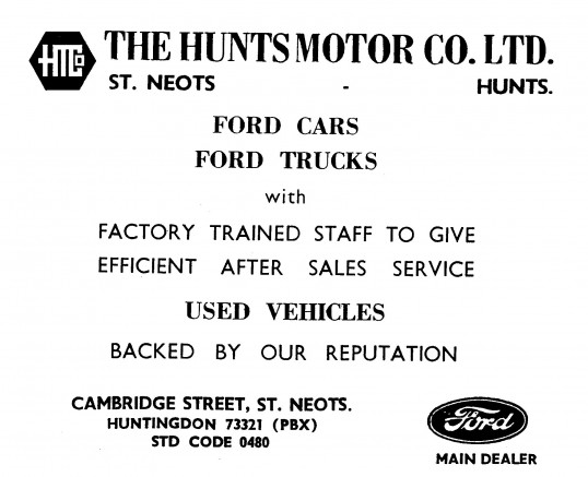 Advert for Hunts Motor Co Ltd in Cambridge Street, St Neots - in 'News of the Churches' magazine Feb 1975