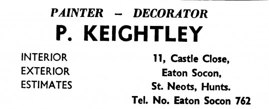 Advert for P. Keightley, painters and decorators in Eaton Socon - in 'News of the Churches' magazine Feb 1975