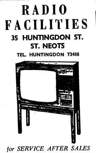 Advert for Radio Facilities in Huntingdon Street, St Neots - in 'News of the Churches' magazine Feb 1975