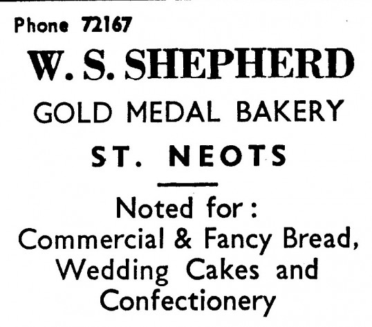 Advert for W.S. Shepherd, bakers in St Neots - in 'News of the Churches' magazine Feb 1975