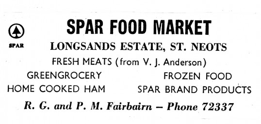 Advert for Spar Food Market in Longsands Rd, St Neots- in 'News of the Churches' magazine Feb 1975