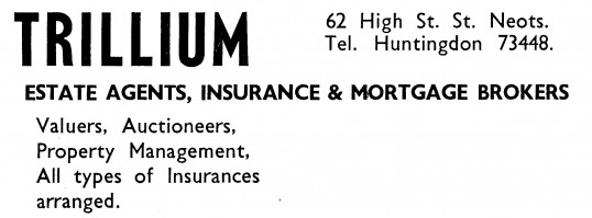 Advert for Trillium, estate agents and insurance agents, in St Neots High Street, - in 'News of the Churches' magazine Feb 1975