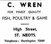Advert for C.Wren shop in St Neots High Street - in 'News of the Churches' magazine Feb 1975