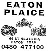 Advert for Eaton Plaice Fish and Chip Shop in Eaton Ford - in 'Eatons Community Association Newsletter (ESCAN) Nov 1994