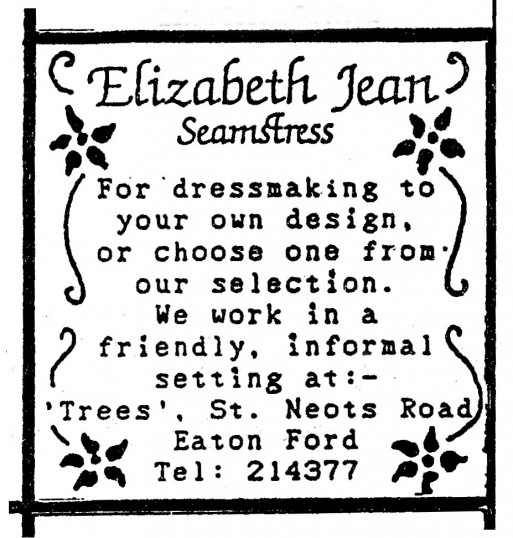 Advert for Elizabeth Jean Seamstress in Eaton Ford - in 'Eatons Community Association Newsletter (ESCAN) Nov 1994
