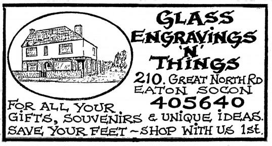 Advert for Glass Engravings n'Things in Eaton Socon - in 'Eatons Community Association Newsletter (ESCAN) Nov 1994
